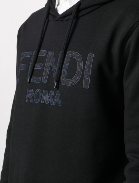 Floral-embroidered logo-detail hoodie