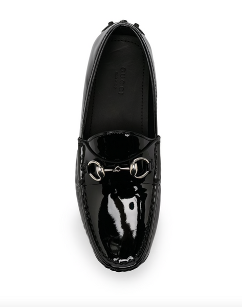 Gucci glossy-finish horsebit loafers