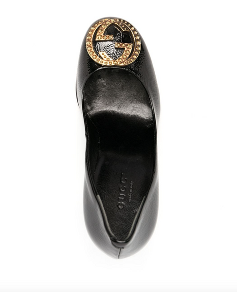 Gucci logo-plaque leather pumps