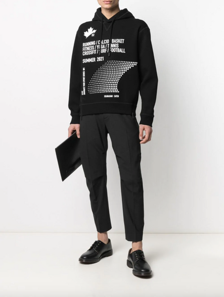 Dsquared2 zipped side slogan print hoodie