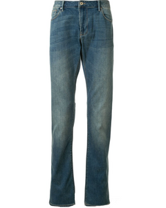 Emporio Armani J06 stonewashed slim-fit light blue jeans