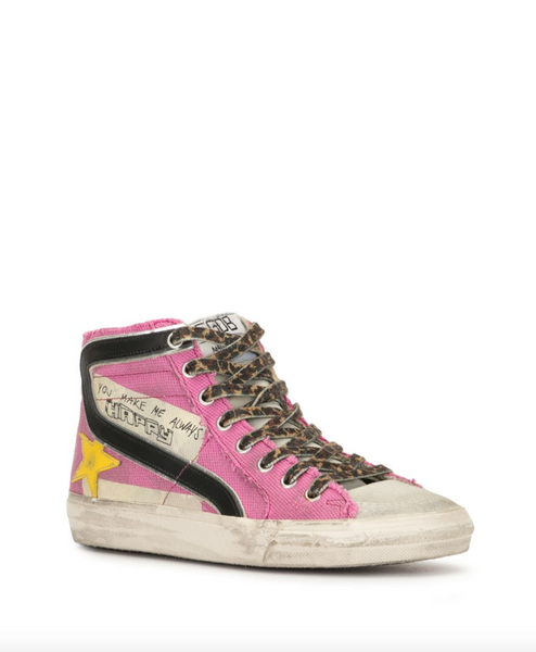 Golden Goose Slide slogan print high-top pink sneakers