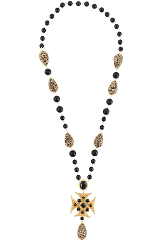 Beaded long cross necklace - Profile Fashion