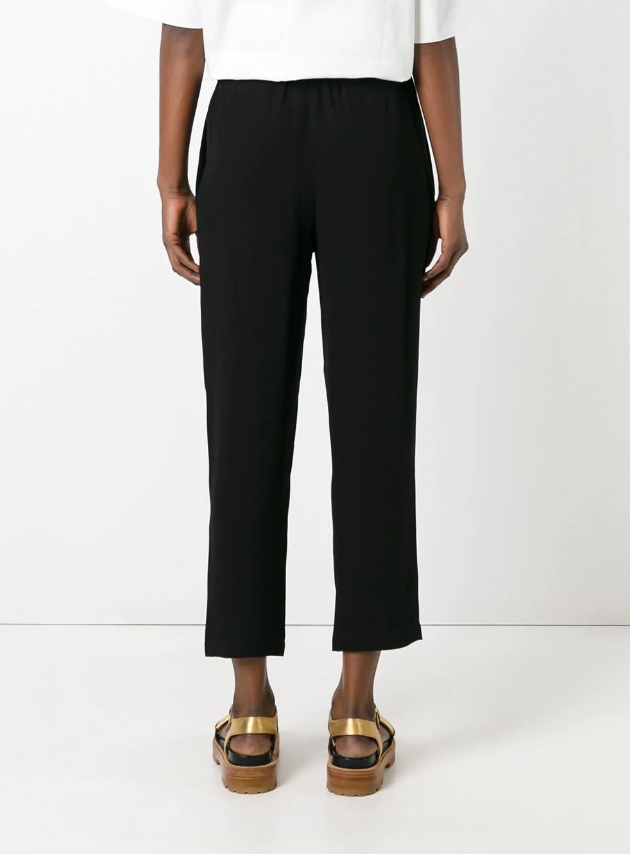 Elasticated straight-leg trousers