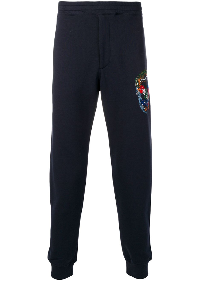 Embroidered skull track pants