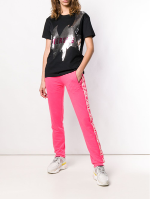 Side logo print stripe track pants