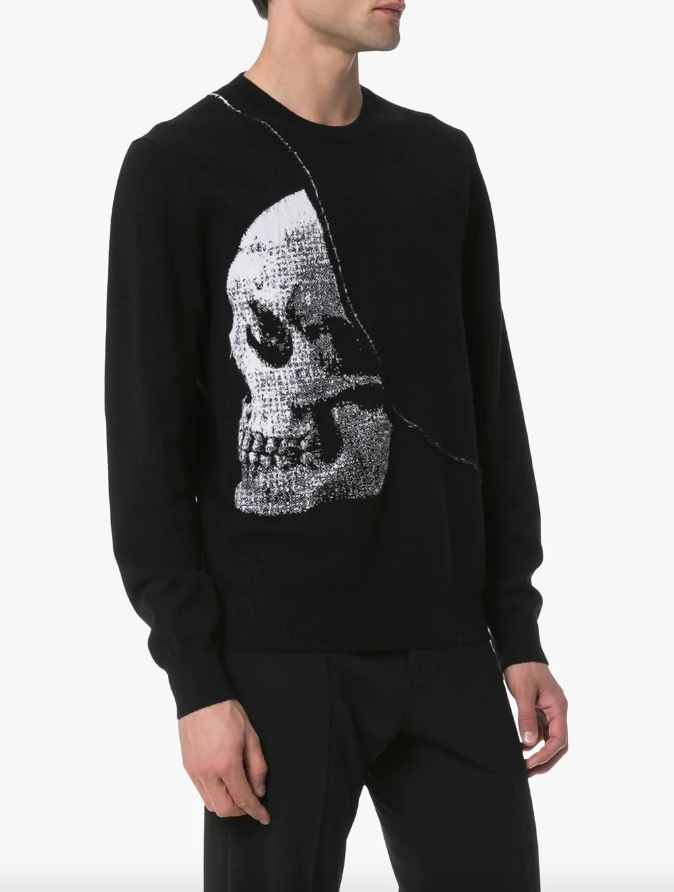 Intarsia skull crew-neck sweater