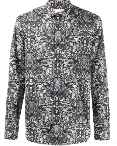 Lace and skull printed shirt