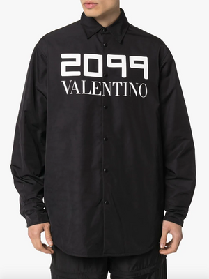 2099 logo print shirt jacket