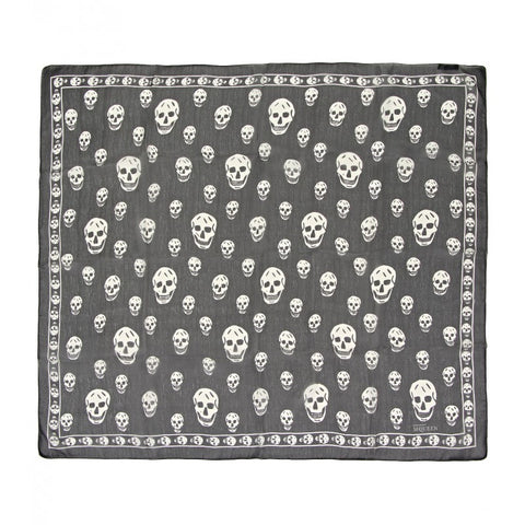 Black & cream silk skull printed scarf