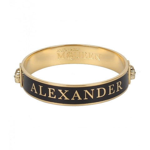 Black & Gold-tone enamel logo bangle