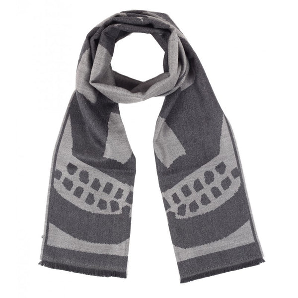 Black & grey wool 'Big Skull' print scarf