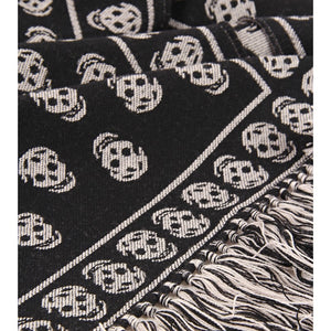 Black & ivory wool 'Skull' knit scarf