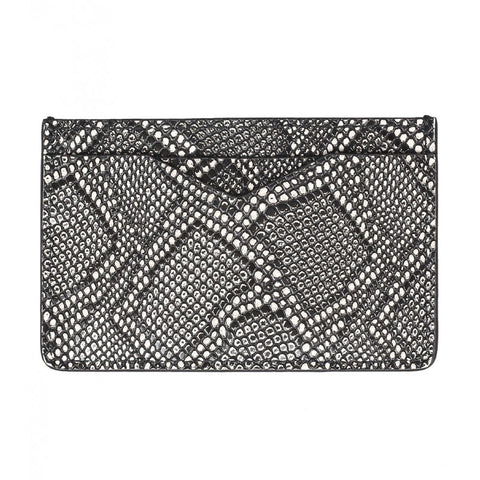 Black & white leather embossed snake print card holder