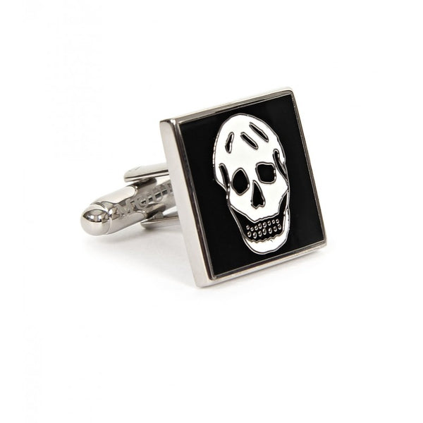 Black & white square metal silver-tone cufflinks