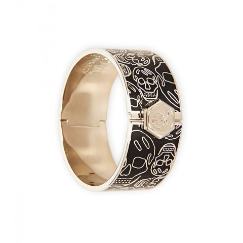 Black enamel & silver-tone brass skull bangle