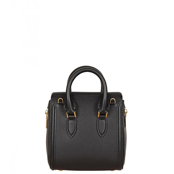 Black leather heroine mini tote bag