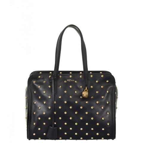 Black leather studded Skull Padlock tote
