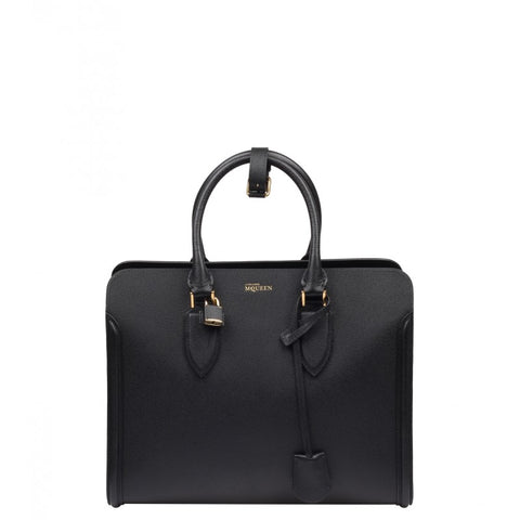 Black woven grain leather Heroine tote