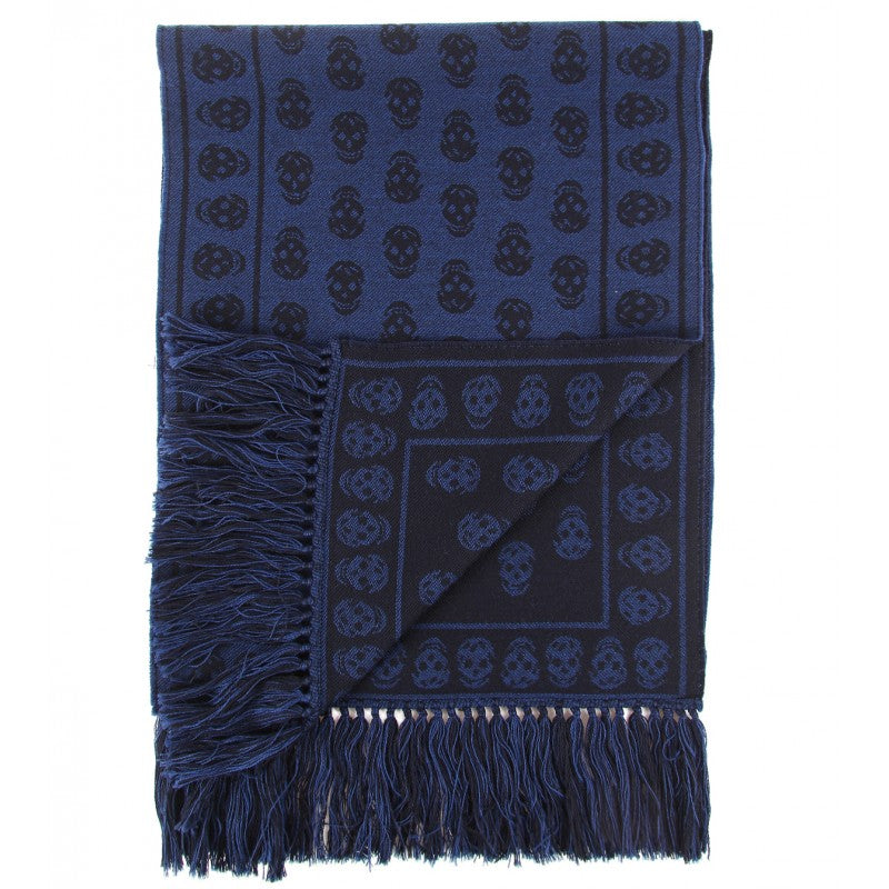 Blue & black wool 'Skull' knit scarf