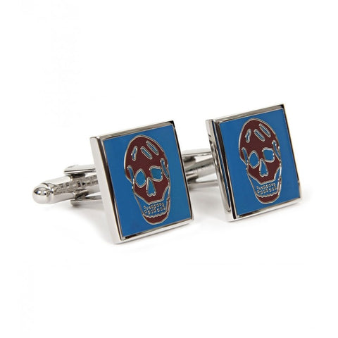 Blue & dark red metal square cufflinks