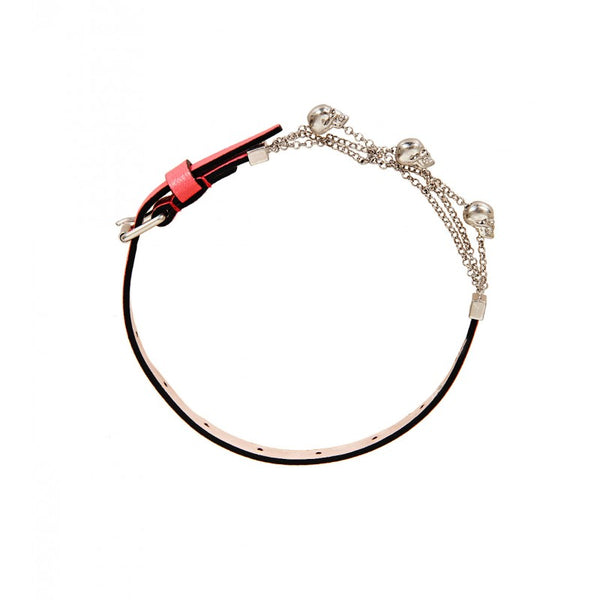 Coral pink leather & silver tone wrap bracelet