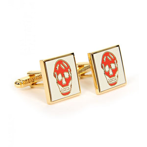 Cream & red square metal cufflinks