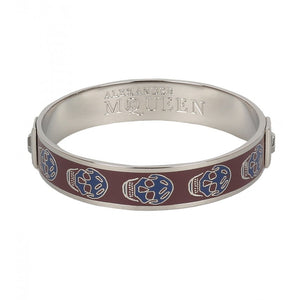 Dark red & blue enamel skull bangle