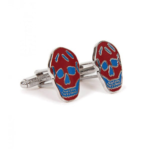 Dark red & blue metal skull cufflinks