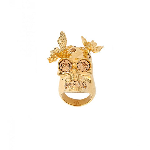 Gold metal skull & butterfly ring