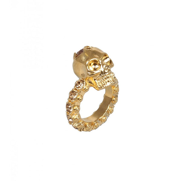 Gold-tone jewelled skull ring