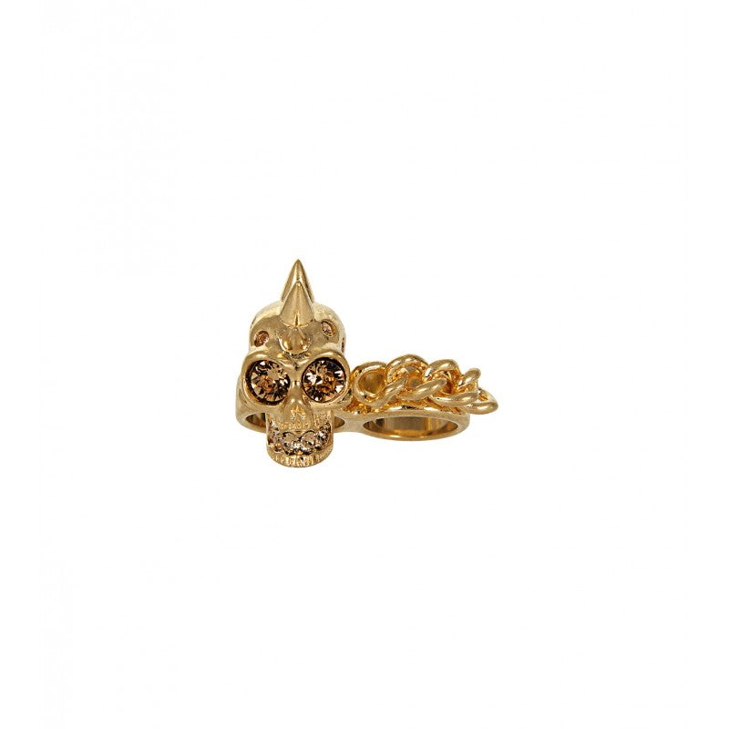 Gold-tone skull chain double ring