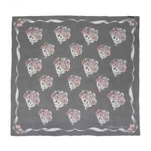 Graphite silk blend romantic skull printed scarf