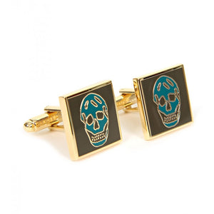 Khaki & petrol blue square metal skull cufflinks