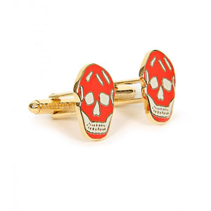 Light grey & red gold-tone metal skull shaped cufflinks