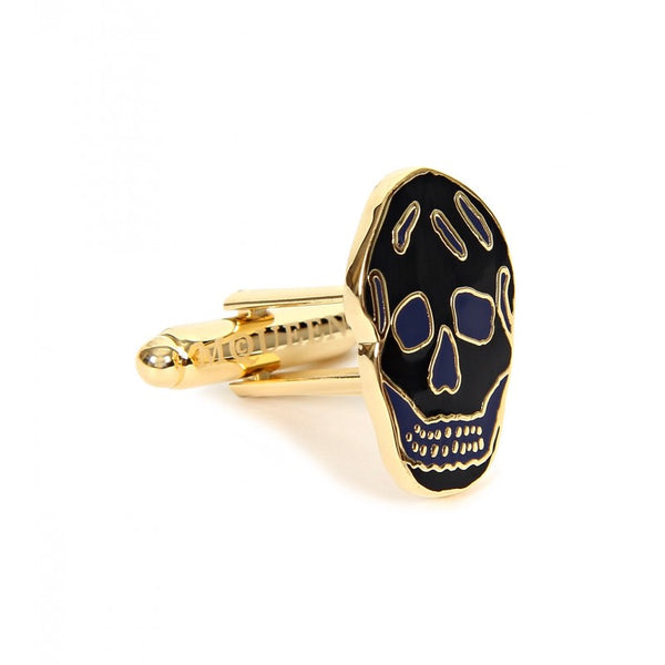 Navy & black gold-tone metal skull cufflinks