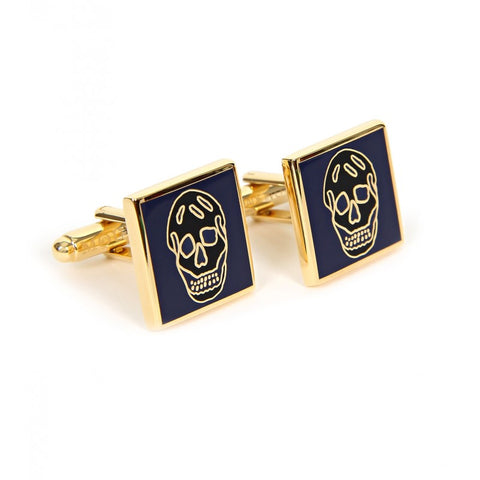 Navy & black skull design cufflinks
