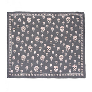Navy & powder silk skull printed scarf