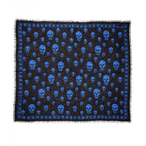 Navy & royal blue silk blend skull print scarf