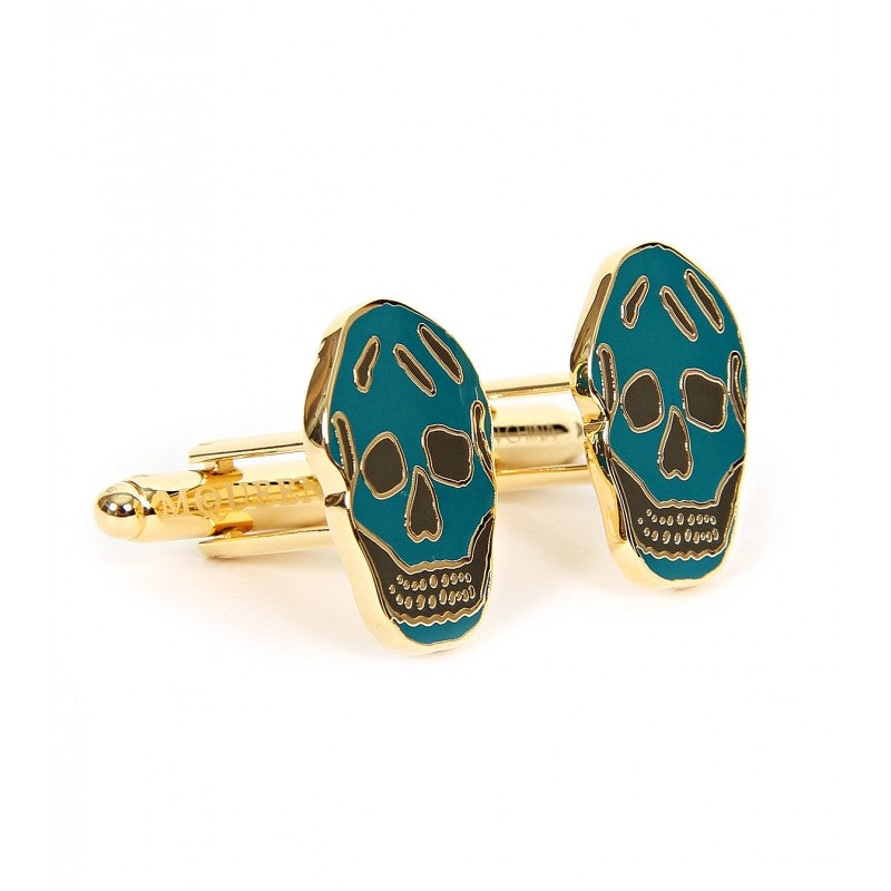 Petrol blue & khaki gold-tone metal cufflinks