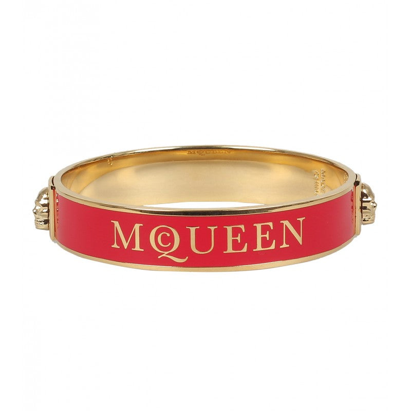Red & gold-tone enamel logo bangle