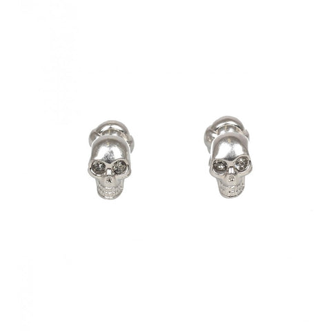 Silver-tone brass crystal eye skull cufflinks