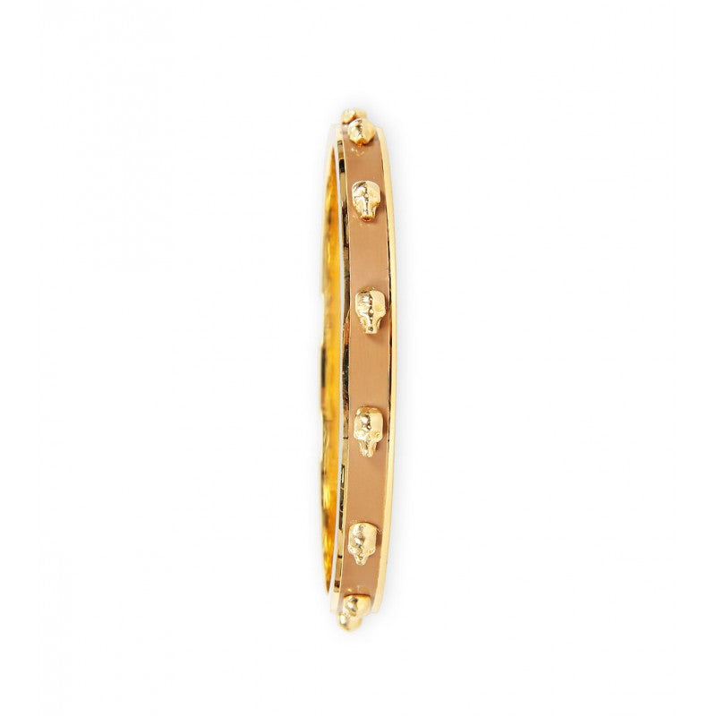 Tan enamel & brass skull slim bangle
