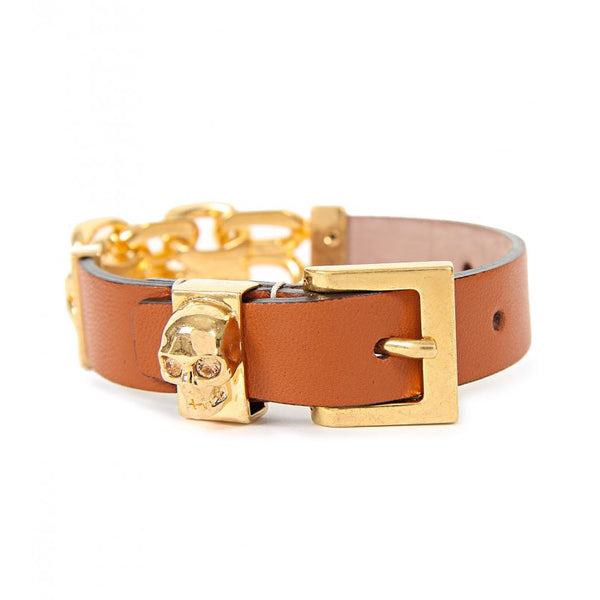 Tan leather skull & chain bracelet