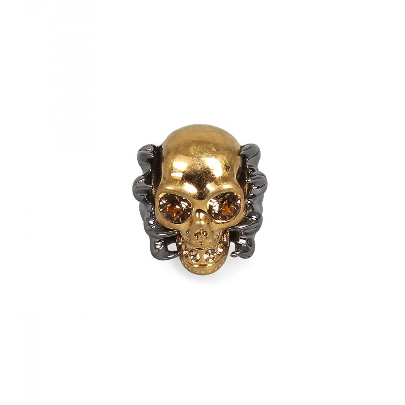 Two-tone claw skull punk ring