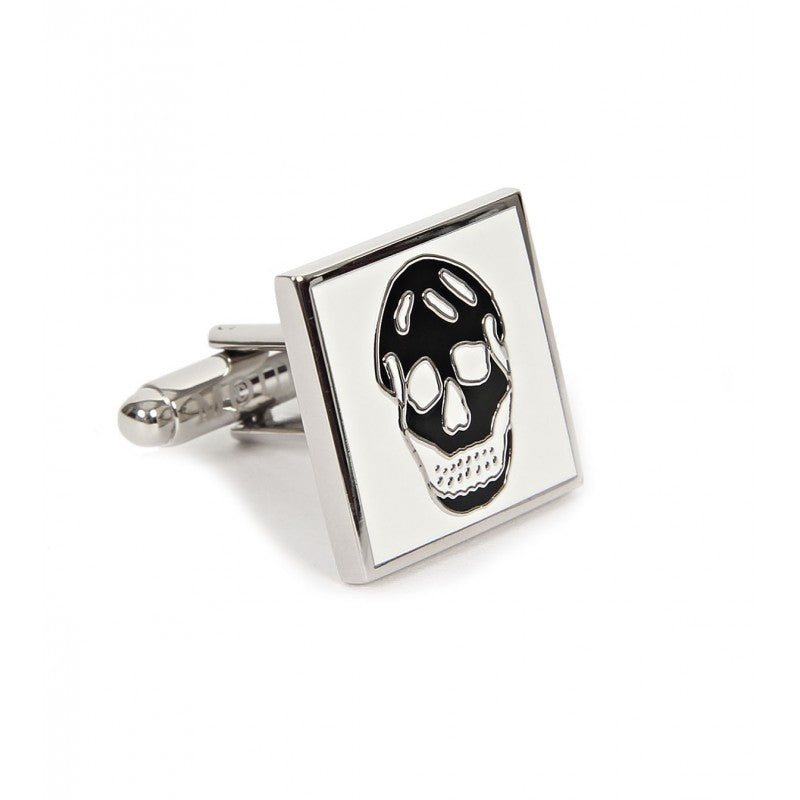White & black metal skull cufflinks