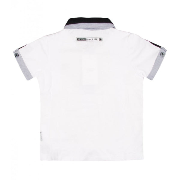 Armani Junior white short sleeved cotton polo shirt