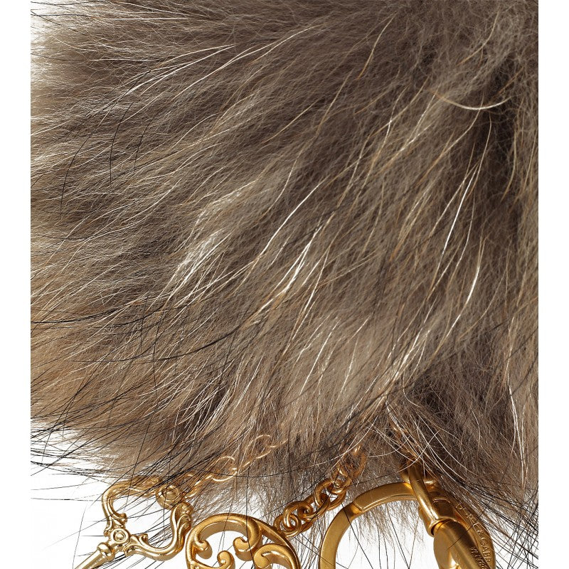 Beige Fur Pom Pom Key Ring - Profile Fashion