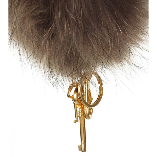 Beige Fur Pom Pom Key Ring