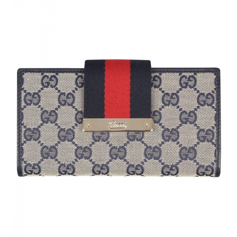Beige & blue original GG canvas continental wallet - Profile Fashion